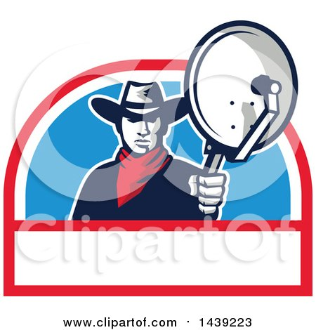 Clipart of a Retro Cowboy Holding and Aiming a Satellite Dish in a Half Circle - Royalty Free Vector Illustration by patrimonio