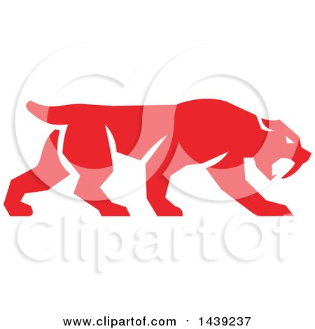 Clipart of a Retro Red Saber Tooth Tiger Walking - Royalty Free Vector Illustration by patrimonio