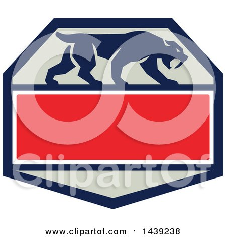 Clipart of a Retro Silhouetted Walking Saber Tooth Tiger Cat in a Hexagon with Text Space - Royalty Free Vector Illustration by patrimonio
