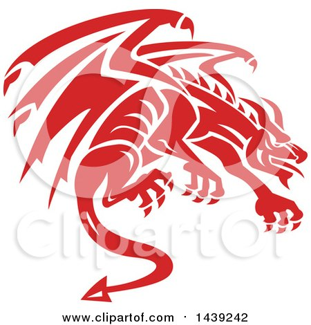 Clipart of a Retro Crouching Red Gargoyle Dragon - Royalty Free Vector Illustration by patrimonio