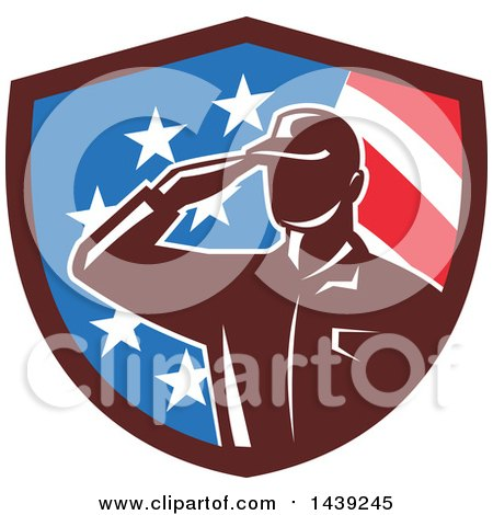Clipart of a Retro Silhouetted Saluting American Soldier in a Flag Shield - Royalty Free Vector Illustration by patrimonio