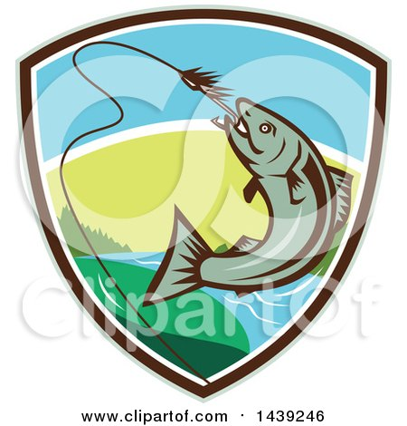 Clipart of a Retro Trout Fish Jumping to Bite a Hook in a Shield - Royalty Free Vector Illustration by patrimonio