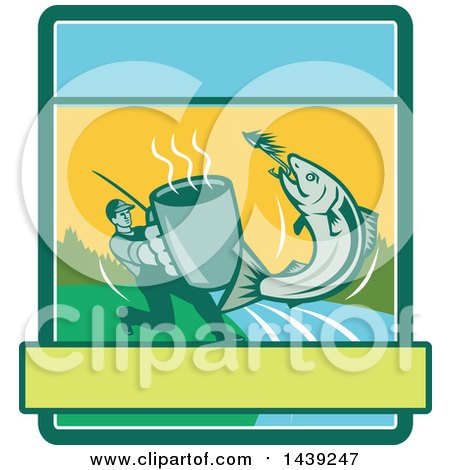 Clipart of a Retro Silhouetted Man Holding out a Coffee Mug and Reeling in a Hooked Salmon Fish in a Rectangle - Royalty Free Vector Illustration by patrimonio