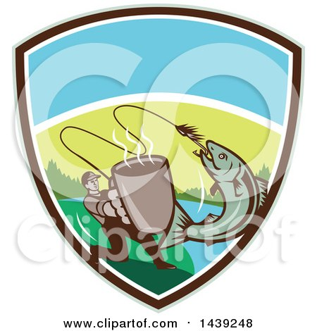 Clipart of a Retro Man Holding out a Coffee Mug and Reeling in a Hooked Salmon Fish in a Shield - Royalty Free Vector Illustration by patrimonio