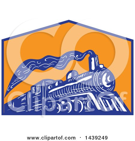 Clipart of a Retro Steam Engine Train in a Blue and Orange Crest - Royalty Free Vector Illustration by patrimonio