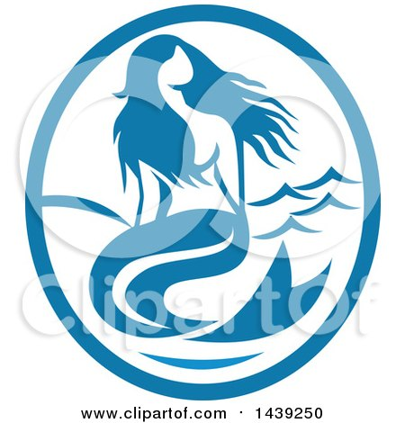 Clipart of a Retro Mermaid Siren in a Blue and White Oval - Royalty Free Vector Illustration by patrimonio