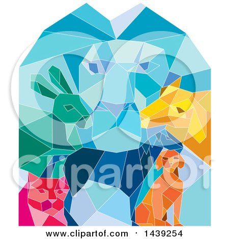 Clipart of a Colorful Low Polygon Styled Male Lion, Rabbit, Cat, Horse, Dog and Goat - Royalty Free Vector Illustration by patrimonio