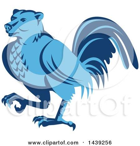 Clipart of a Retro Blue Half Bear Half Chicken Hybrid Marching - Royalty Free Vector Illustration by patrimonio