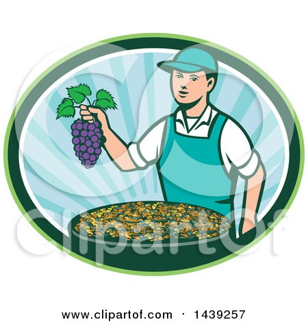 Clipart of a Retro Caucasian Farmer Boy Holding Purple Grapes over a Bowl of Raisins in an Oval - Royalty Free Vector Illustration by patrimonio