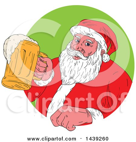 Clipart of a Sketched Santa Claus Holding a Mug of Beer, Emerging from a Circle - Royalty Free Vector Illustration by patrimonio