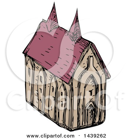 Clipart of a Sketched Medieval Church - Royalty Free Vector Illustration by patrimonio