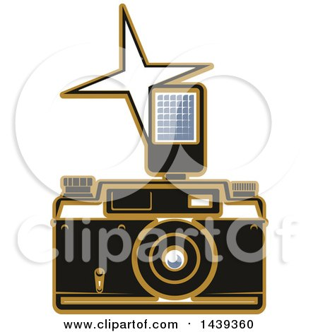 Clipart of a Camera and Flash - Royalty Free Vector Illustration by Vector Tradition SM