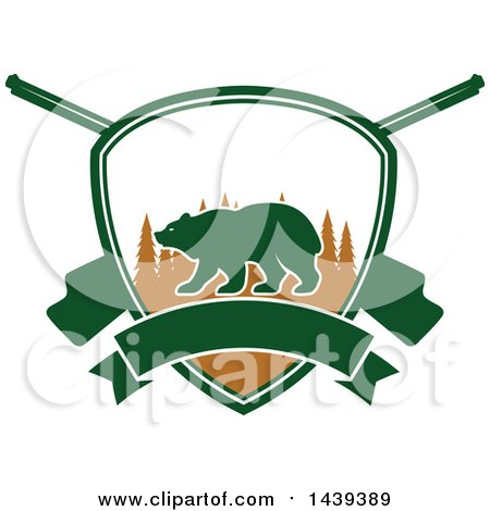 Clipart of a Bear Hunting Shield - Royalty Free Vector Illustration by Vector Tradition SM