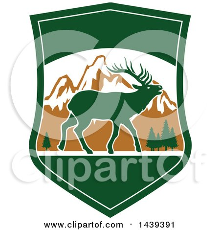 Clipart of a Mountain and Elk Hunting Shield - Royalty Free Vector Illustration by Vector Tradition SM