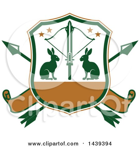 Clipart of a Rabbit Hunting Shield - Royalty Free Vector Illustration by Vector Tradition SM