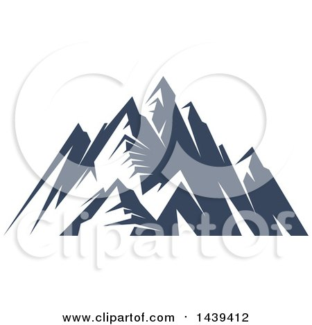 Clipart of a Dark Blue Mountains with Snow Caps - Royalty Free Vector Illustration by Vector Tradition SM