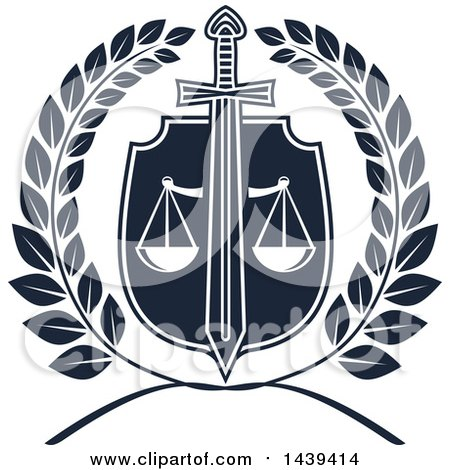 Clipart of a Shield with a Sword, Wreath and Scales of Justice - Royalty Free Vector Illustration by Vector Tradition SM
