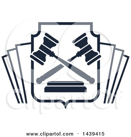Clipart of a Shield with Book Pages and Gavels - Royalty Free Vector Illustration by Vector Tradition SM