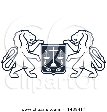 Clipart of a Shield with Lions and Scales of Justice - Royalty Free Vector Illustration by Vector Tradition SM