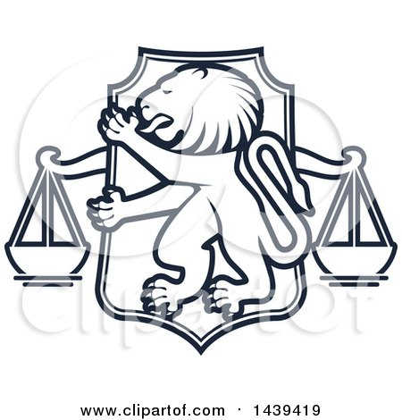 Clipart of a Shield with a Lion and Scales of Justice - Royalty Free Vector Illustration by Vector Tradition SM