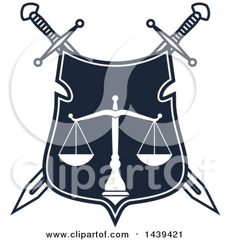 Clipart of a Shield with Crossed Swords and Scales of Justice - Royalty Free Vector Illustration by Vector Tradition SM