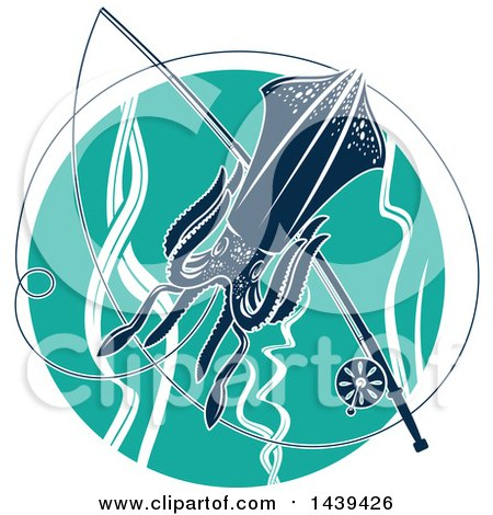 Clipart of a Squid in a Turquoise Circle, with a Fishing Pole - Royalty Free Vector Illustration by Vector Tradition SM