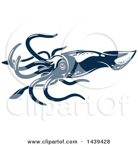 Clipart of a Dark Blue Squid - Royalty Free Vector Illustration by Vector Tradition SM