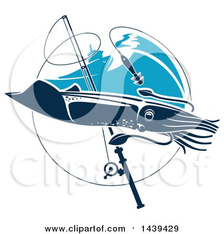 Clipart of a Squid in a Circle with a Fishing Pole and Boat - Royalty Free Vector Illustration by Vector Tradition SM
