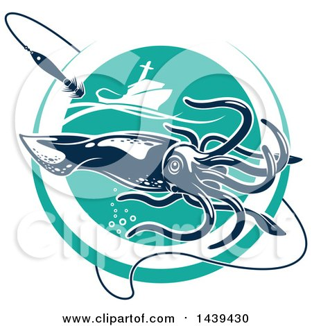 Clipart of a Squid in a Turquoise Circle, with a Fishing Boat and Hook - Royalty Free Vector Illustration by Vector Tradition SM