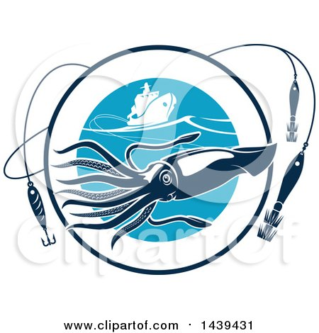 Clipart of a Squid in a Circle with Hooks and a Boat - Royalty Free Vector Illustration by Vector Tradition SM