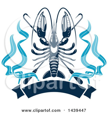 Clipart of a Navy Blue Lobster with Hooks and a Banner ...