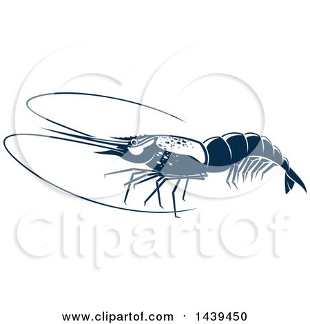 Clipart of a Navy Blue Shrimp - Royalty Free Vector Illustration by Vector Tradition SM