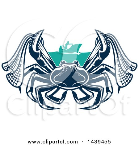Clipart of a Navy Blue Crab with Netting and a Boat - Royalty Free Vector Illustration by Vector Tradition SM