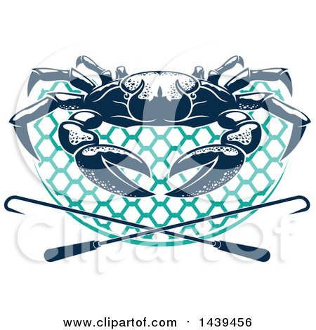 Clipart of a Navy Blue Crab on a Net with Hooks - Royalty Free Vector Illustration by Vector Tradition SM