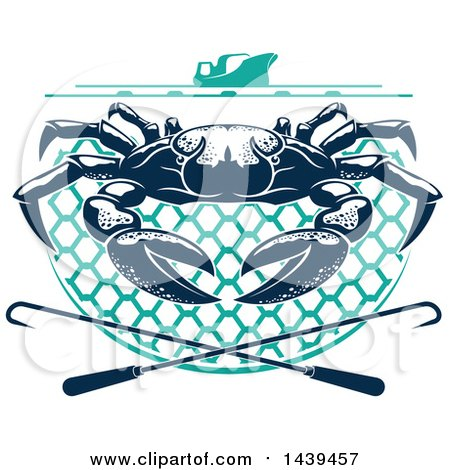 Clipart of a Navy Blue Crab on a Net, Under a Boat with Hooks - Royalty Free Vector Illustration by Vector Tradition SM
