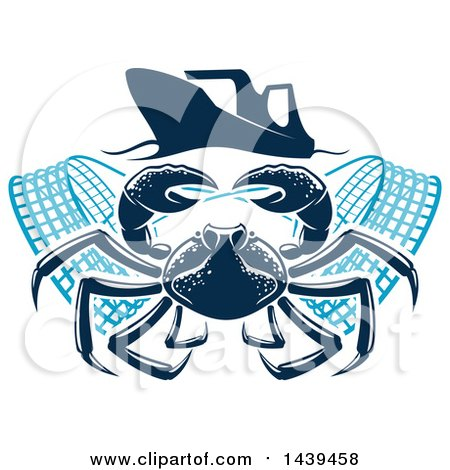 Clipart of a Navy Blue Crab with Nets Under a Boat - Royalty Free Vector Illustration by Vector Tradition SM