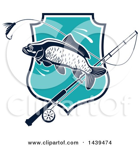 Clipart of a Carp Fish and Pole over a Shield - Royalty Free Vector Illustration by Vector Tradition SM