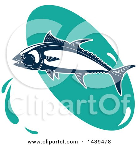 Clipart of a Tuna Fish over a Turquoise Oval - Royalty Free Vector Illustration by Vector Tradition SM
