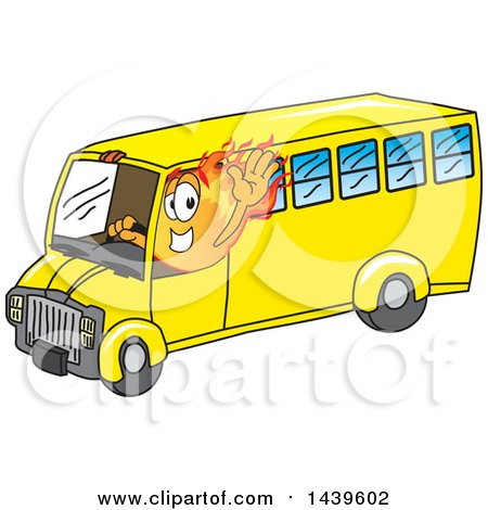 Clipart of a Comet School Mascot Character Driving a School Bus - Royalty Free Vector Illustration by Toons4Biz