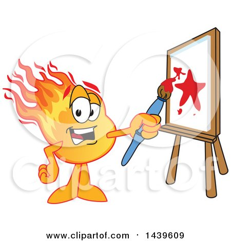 Clipart of a Comet School Mascot Character Painting an Art Canvas - Royalty Free Vector Illustration by Toons4Biz