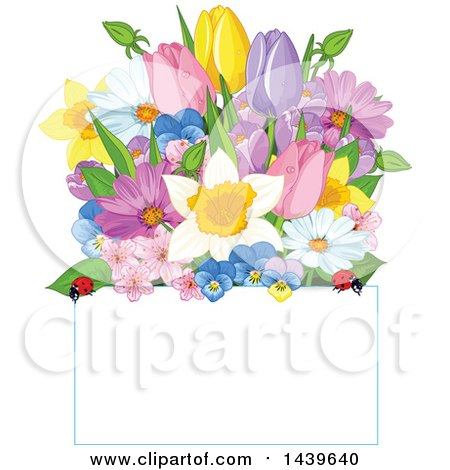 Clipart of a Bunch of Flowers with Ladybugs over a Sign - Royalty Free Vector Illustration by Pushkin