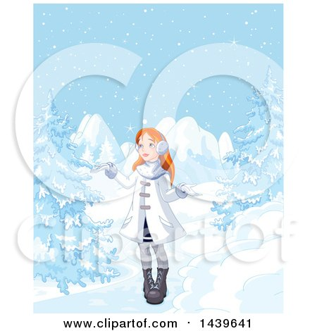 Clipart of a Red Haired Caucasian Girl in a Winter Landscape - Royalty Free Vector Illustration by Pushkin