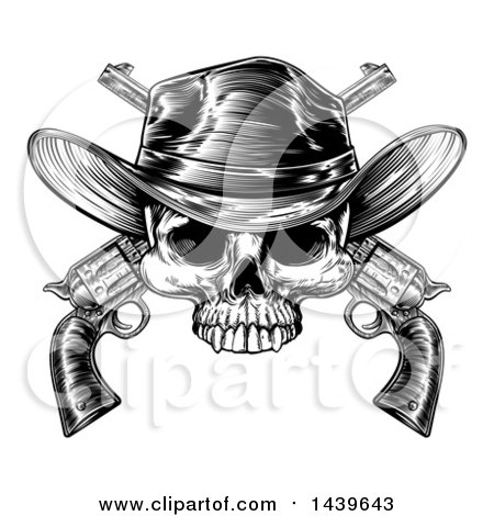 Clipart of a Black and White Woodcut Etched or Engraved Cowboy Skull over Crossed Pistols - Royalty Free Vector Illustration by AtStockIllustration