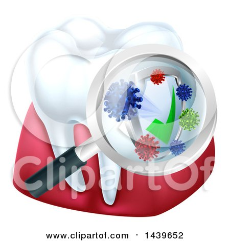 Clipart of a 3d Tooth and Gums with a Magnifying Glass over a Protective Dental Shield - Royalty Free Vector Illustration by AtStockIllustration