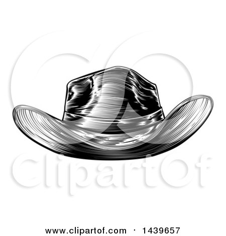 Clipart of a Black and White Woodcut Etched or Engraved Cowboy Hat - Royalty Free Vector Illustration by AtStockIllustration