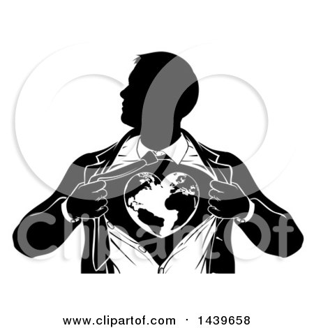 Clipart of a Black and White Silhouetted Strong Business Man Super Hero Ripping off His Suit and Revealing a Heart Earth - Royalty Free Vector Illustration by AtStockIllustration