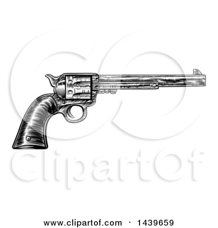 Clipart of a Black and White Woodcut Etched or Engraved Vintage Pistol - Royalty Free Vector Illustration by AtStockIllustration