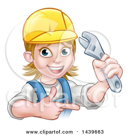 Cartoon Happy White Female Plumber Holding an Adjustable Wrench and Pointing Posters, Art Prints