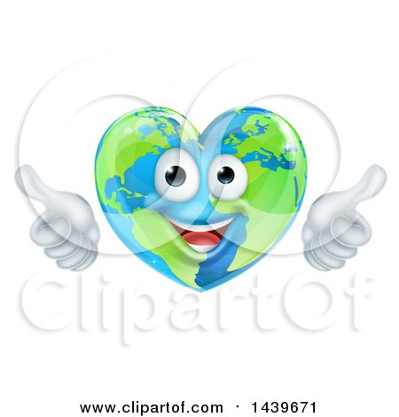 Happy Earth Globe in the Shape of a Heart Character Giving Two Thumbs up Posters, Art Prints