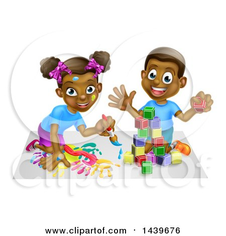 Cartoon Happy Black Boy and Girl Kneeling and Painting and Playing with Blocks Posters, Art Prints